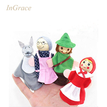 InGrace 4pcs little red riding hood and wolf play game finger puppets for kids classic story kids baby learning educational toy(China (Mainland))