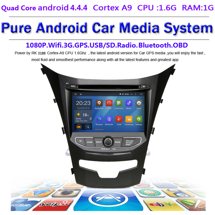 Qual Cord android 4 4 4 stereo for Ssangyong Korando 1024X600 Capacitive screen GPS Radio headunit