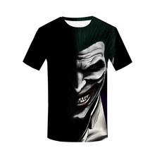 Джокер, клоун, Мужская 3D футболка, женские топы со всеми принтами, футболки 2019, модная панковская футболка в стиле хип-хоп, повседневная одеж...(China)