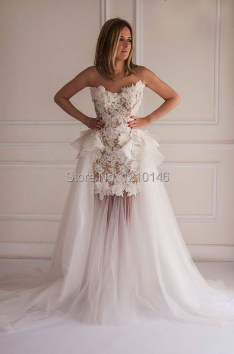 A line strapless mermaid lace applique bridal wedding for Mermaid wedding dress with detachable train