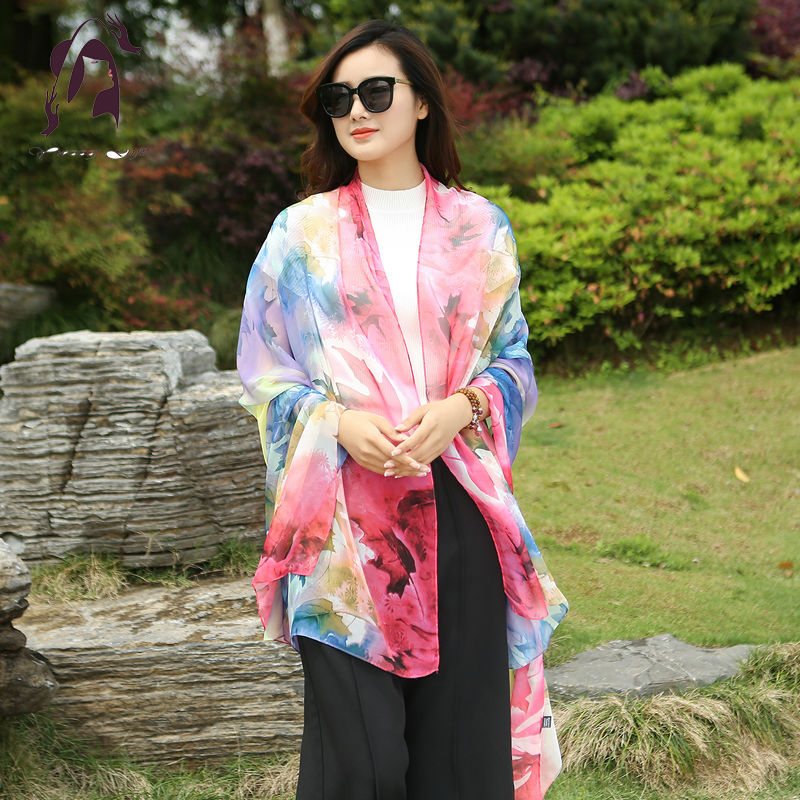 Summer 2016 100% Silk Scarve For Women Soft Print Cover-ups Lady Chiffon Long Shawls 150*200cm Girls Beach Scarves Silk Wraps(China (Mainland))
