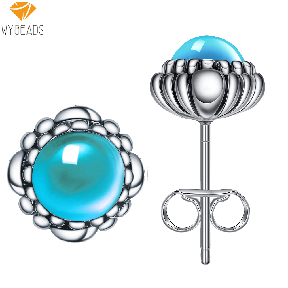 925 Sterling Silver Aquamarine March Birthstone Bloom Stud Earrings For Women Female Fashion Earring Original Jewelry Making(China (Mainland))