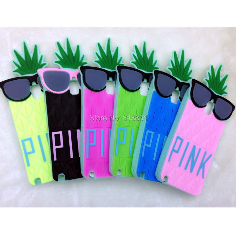 1 Victoria/s Secret Pink 3D soft Silicone Fruit pineapple case Samsung Galaxy Note 3 N9000 rubber cover - Shenzhen HZZ Trading Co., Ltd. store