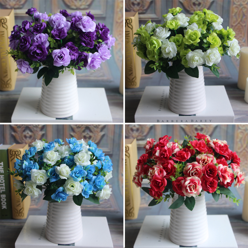 Bunch 15 heads Fake Silk Flowers Bouquet Artificial Rose Bridal Floral Decor Plant Flower Arrangement(China (Mainland))