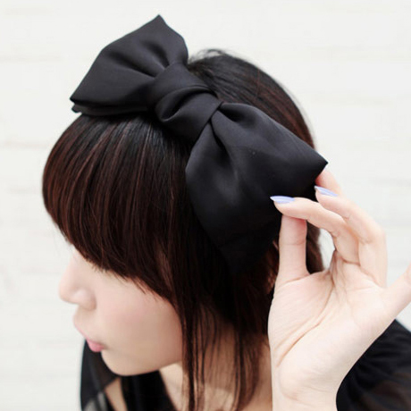 Wholsale, Fashion Hair Accessory Black Hair Bands Large Ribbon Korean Hair Bow Headband For Women Free Shipping(China (Mainland))