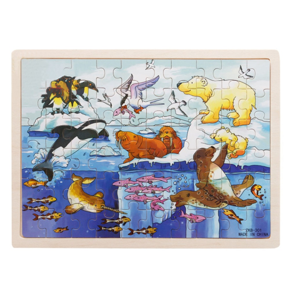 Free shipping 60-Piece Polar Animals Wooden Jigsaw Puzzle Baby Kids Children Educational Toy <br><br>Aliexpress