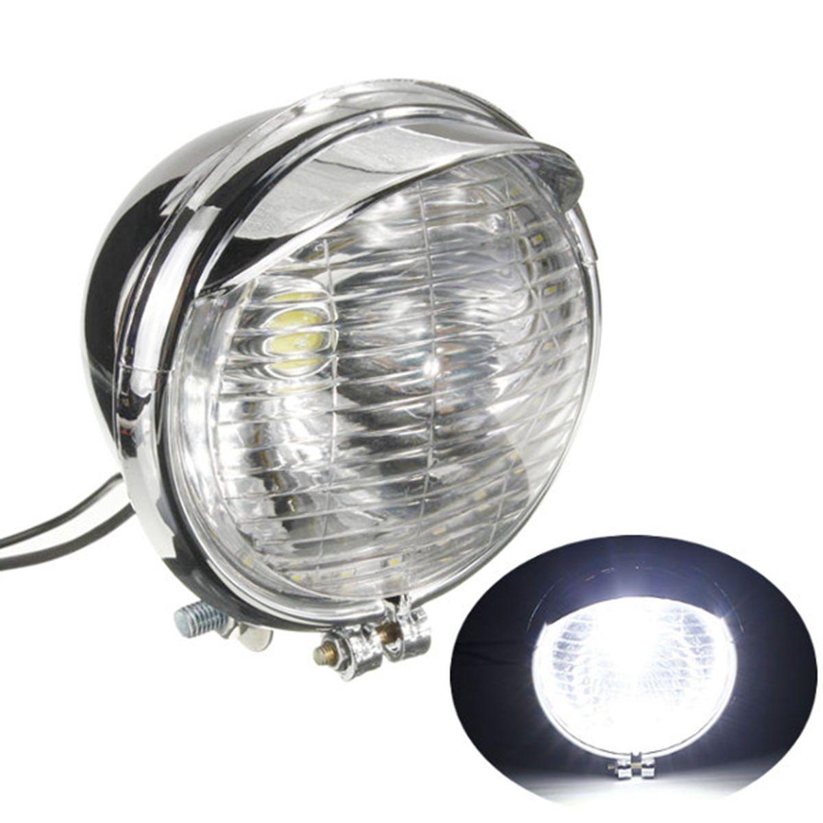 Universal Motorcycle 25 LED Headlight Head Lamp Chrome For Harley Chopper Custom 12V<br><br>Aliexpress
