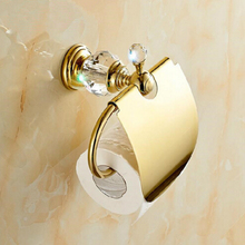 Luxury Crystal Decoration Paper roll Holder Gold Brass Toilet Waterproof Tissue Box - Duola home and garden products store