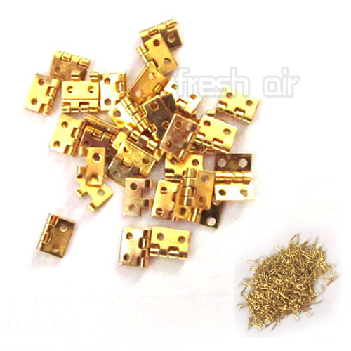Гаджет  50PCS/Lot  Mini Small Metal Hinges with Screws For 1/12 Dollhouse Miniature Furniture  Free Shipping None Аппаратные средства