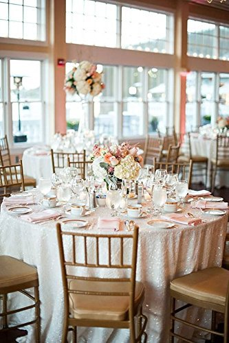 White Sequin Tablecloth custom sizes available (120Inch round)(China (Mainland))