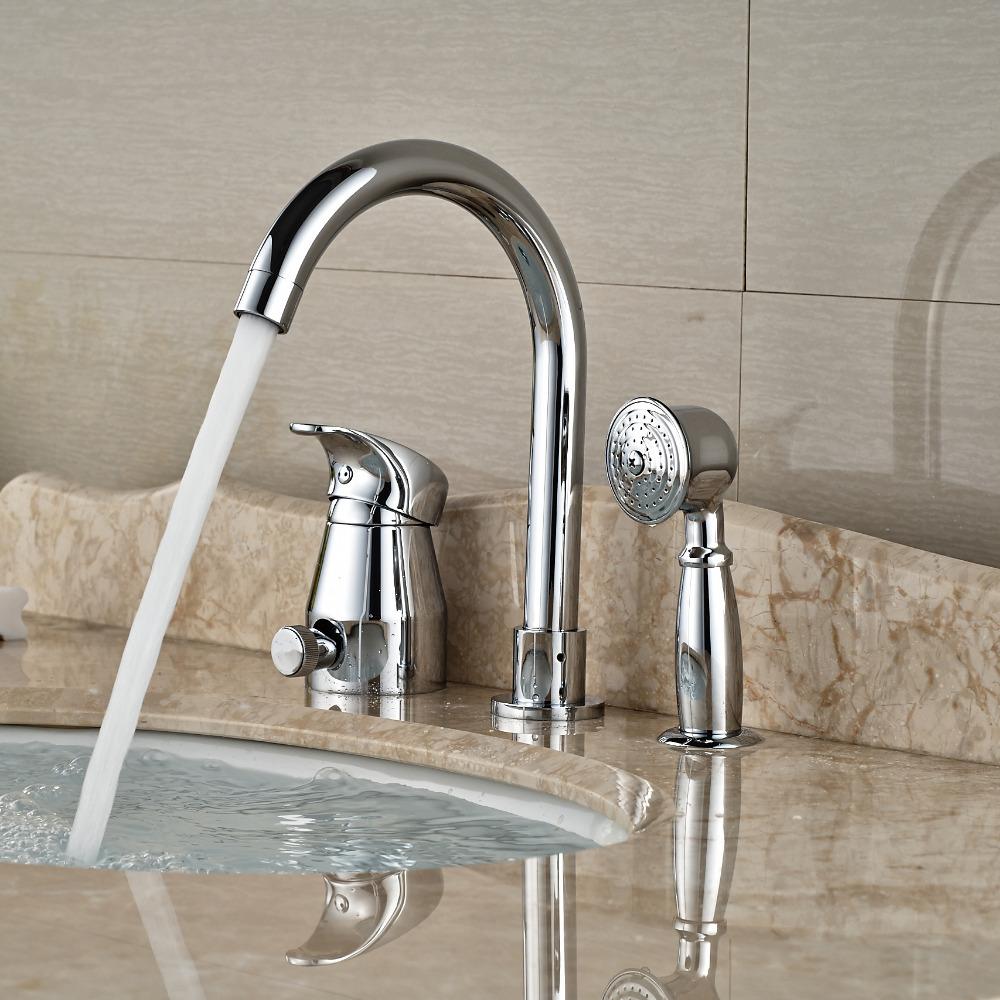 Фотография Deck Mount Goose Neck Bathtub Faucet Deck Mount Bathroom Tub Mixer Taps with Brass Handshower