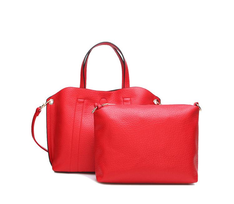 2016 HIGH GRADE 100%LEATHER COMPOSITE BAG RED STYLISH WOMEN'S HANDBAG HOBOS LADY'S BIG TOTE BAG STYLISH OL LITCHI BAG HD1092(China (Mainland))