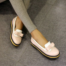 The spring and summer of 2015 British flat shoes retro Oxford pastoral wind round bow women shoe