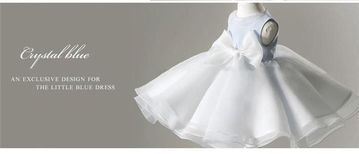 Скидки на ДЕТСКИЕ WOW Детская Одежда Светло-Голубые Детские Девушки Новогодние Платья Крещение Платья Принцессы Платье Первое Причастие Платья 80127