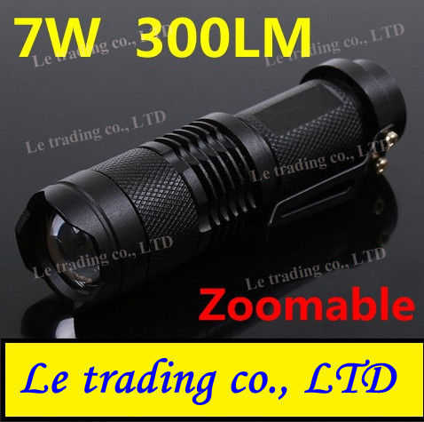 Mini LED Torch 7W 300LM CREE Q5 LED Flashlight Adjustable Focus Zoom flash Light Lamp free shipping wholesale