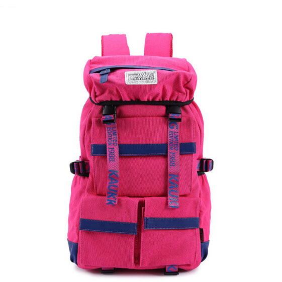 Rose pink 25L big canvas sport hiking backpack travel backpack.schoolbag satchel.49.21245.Free shipping(China (Mainland))