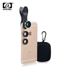 Buy Apexel Mobile Phone Lens Fisheye Lens 15X Macro 3 1 Lens Kit Fish Eye Lens iPhone 6S 6 Samsung HTC Sony Xiaomi Phones DG3 for $6.74 in AliExpress store