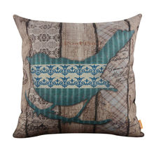 Vintage Wood Slat Blue Bird Burlap Cushion Cover Throw Pillowcase
