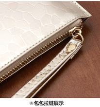 2016brand bolsas mujer women femme long 3color wallet zip clutch handbag with wrist band female phone