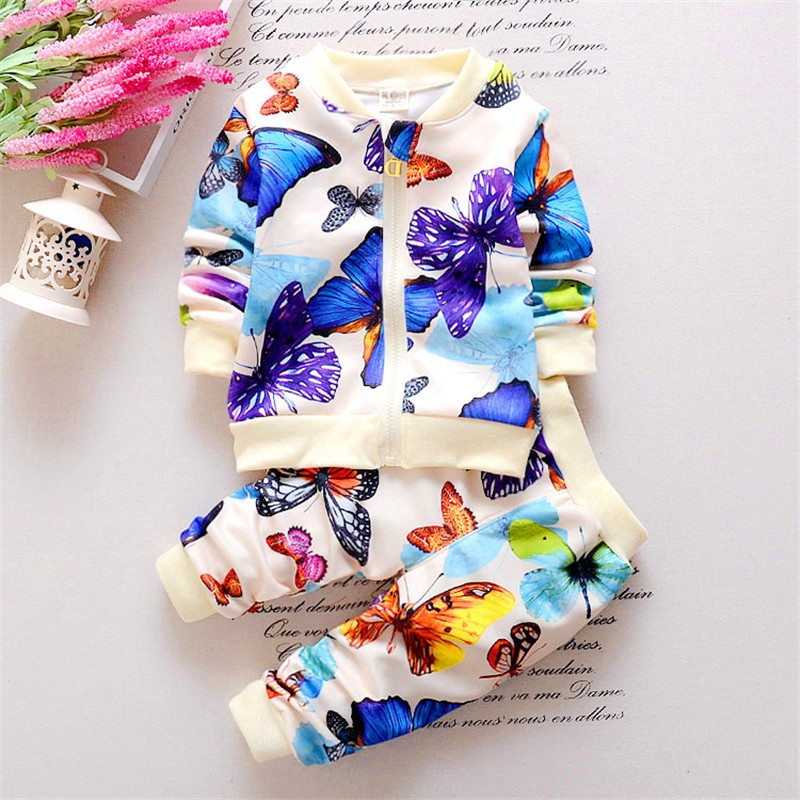 2016 spring autumn Korean leisure sport childern butterfly clothing sets baby girls clothes tracksuit kids fashion outfits suit(China (Mainland))
