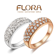 Anel women clear crystal 18K Gold /platinum plated rings fashion party aneis joias Genuine Austrian Crystals Full Size Wholesale
