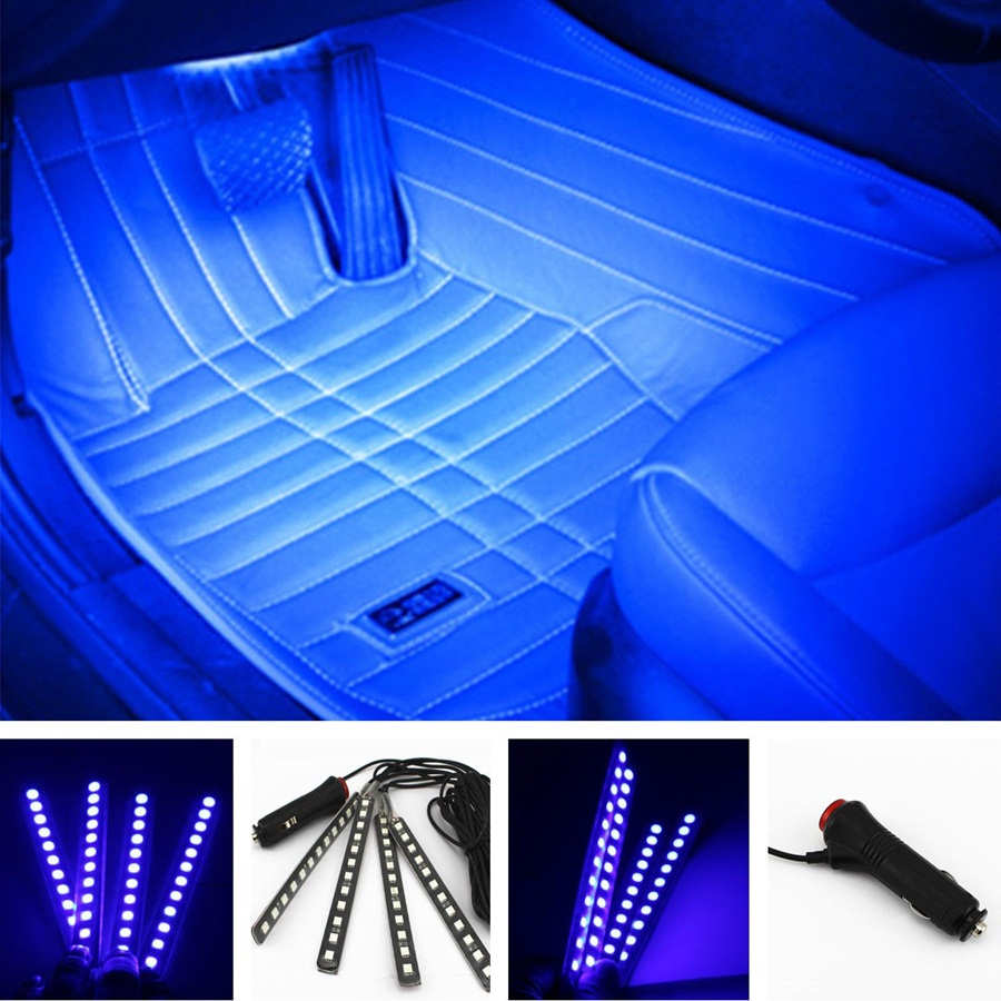 4 in1 12V 6W Car-styling Blue 4*12 LED Decorative Mood Foot Light Colorful Cars Charge Interior Atmosphere Daytime Running Lamp(China (Mainland))