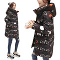 7 14 days To Moscow Women Coat Slim Lady Hooded Jacket With Star Print Regular Length