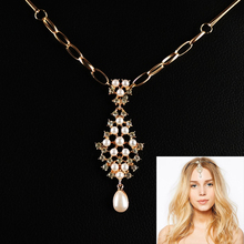 Indian Gold Hair Accessories Bijoux Crystal Imitation Pearl Forehead Jewelry Women Girls Wedding Bridal Hairpins Crown A00188
