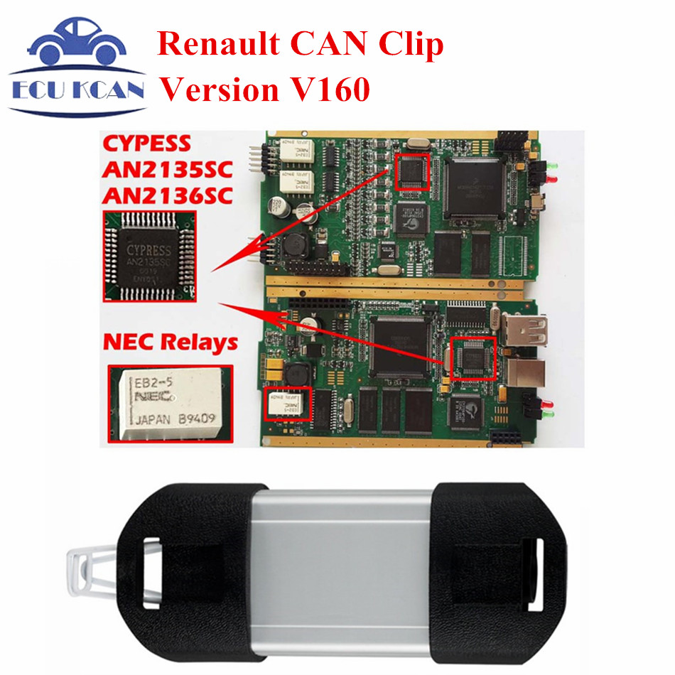 Best Diagnostic Tool For Renault Can Clip Diagnostic Interface Full Chip V160 Multi-Languages CYPRESS AN2135SC & AN2136SC Chips(China (Mainland))