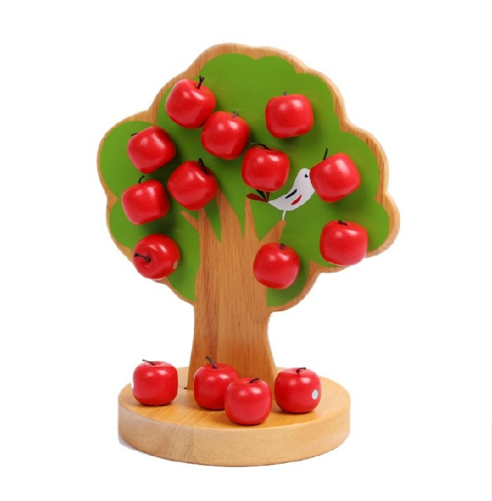 baby gift Montessori education kids wooden toys early learning magnetic apple tree - Graceful Stationery store
