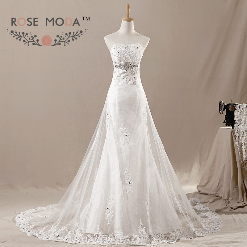 Lace mermaid wedding dress with tulle overskirt crystal for Wedding dress with overskirt