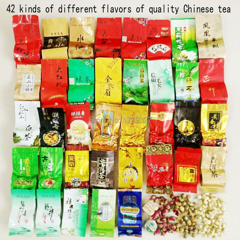 42 different flavors of high quality Chinese tea,black/white/green tea,Tie Guan Yin,Pu'er tea,milk oolong,oolong tea,Da Hong Pao(China (Mainland))