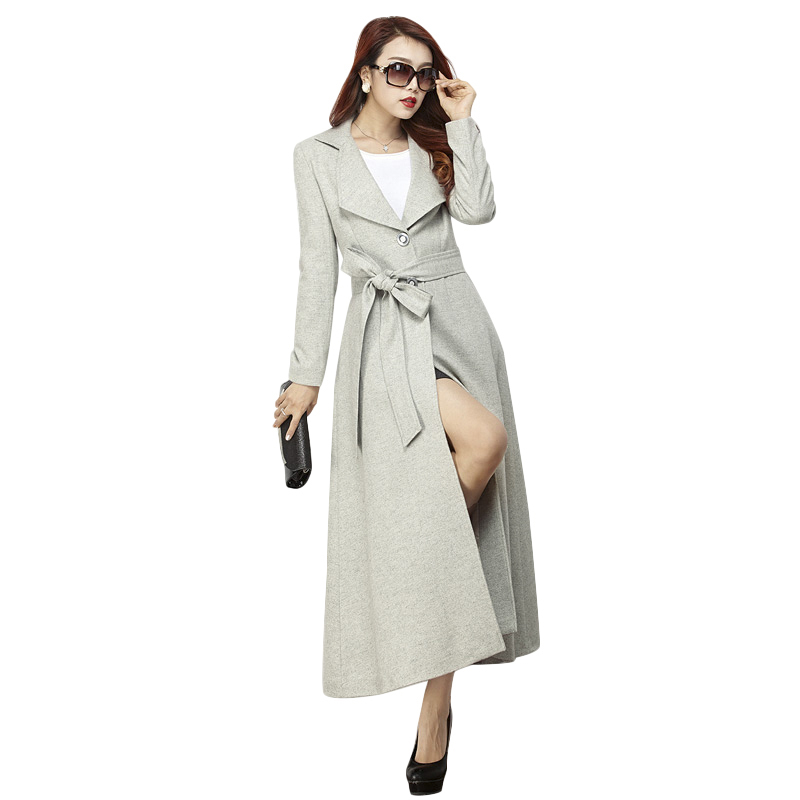 Women Elegant Gray Maxi Woolen Coats 2016 Autumn New Plus Size Turn-Down Collar Single Breasted Wool Blends 2893(China (Mainland))