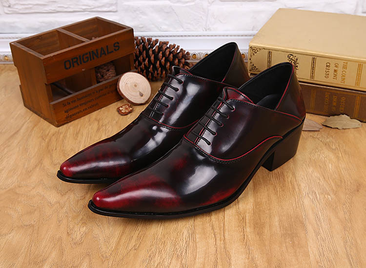 Free Ship! Wine Red mens pointed toe dress shoes Classic Formal men office shoes Cool Lace-up Men Leather Shoes Oxford,EU388-46!(China (Mainland))