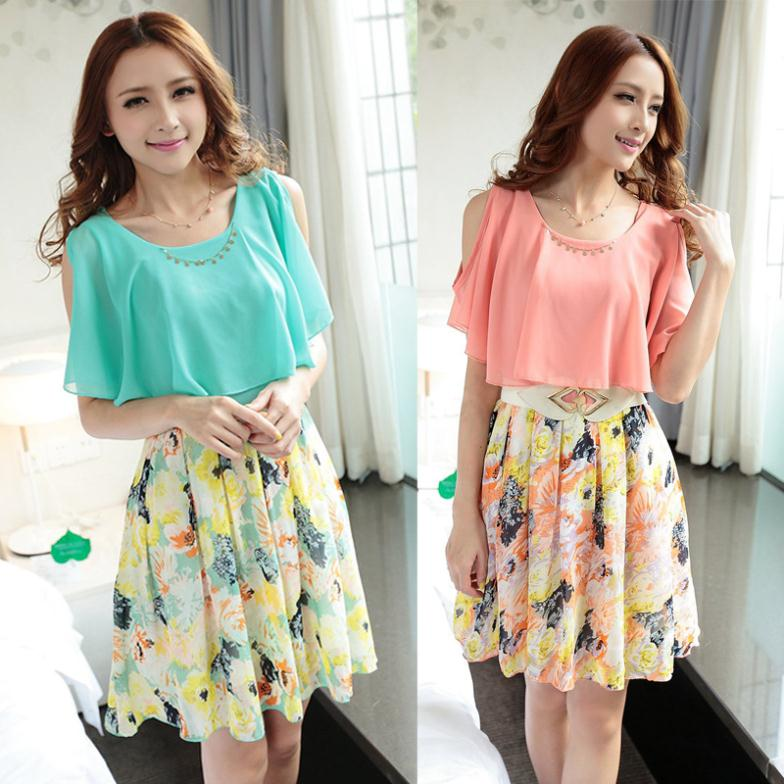 Cute Dress 2014 Spring And Summer Women Korean Thin Chiffon Floral Print Dresses With Belt Pink Blue S/M/L/XL(China (Mainland))