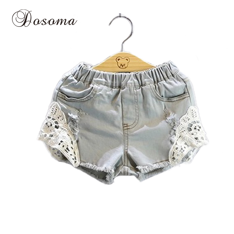 2016 New brand fashion denim jeans lace kids shorts toughskin summer style girls denim shorts for children's personality shorts(China (Mainland))