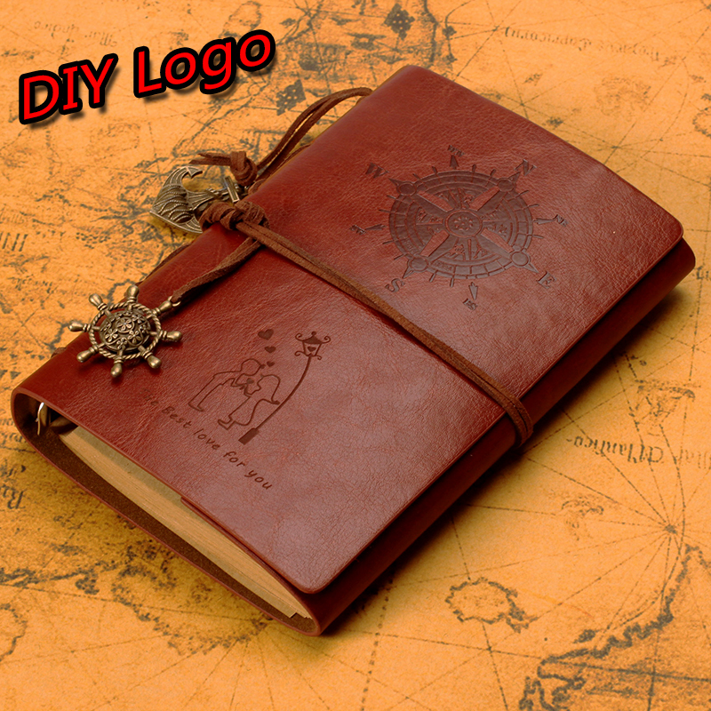 Free Logo DIY Journal Diary Notebook Free Laser Engraving Creative personality DIY Notepad Diary of this Valentine's Day Gift(China (Mainland))
