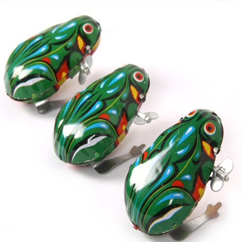 Retro Jumping Frog Tin Toys Wind Up Vintage Adult Collection Metal Clockwork Tin Toys Vintage Kid Jumping Frog Gift For Children(China (Mainland))