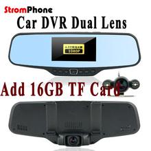 "Dual Lens Car Rearview DVR Mirror Camera  HD 720P 30FPS 12.0MP CMOS 4.3""LCD 170 Degree View Angle(China (Mainland))"