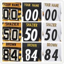 Men's Elite Jersey 100% Stitched #7 Ben #26 Le'Veon #36 Jerome #43 Troy #50 Ryan #84 Antonio Elite Black Yellow White Footbal(China (Mainland))