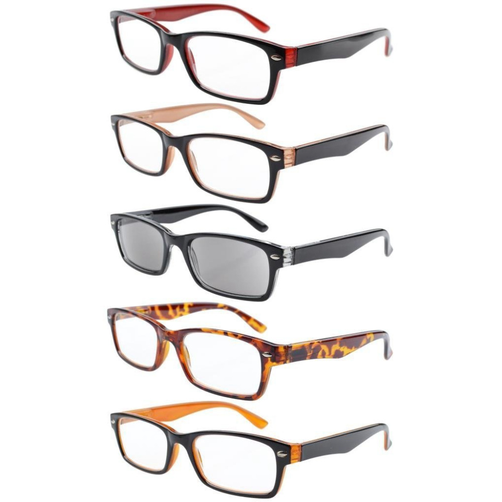 R055 Eyekepper 5-pack Spring Hinges Plastic Reading Glasses Includes Sun Readers +0.00---+4.00