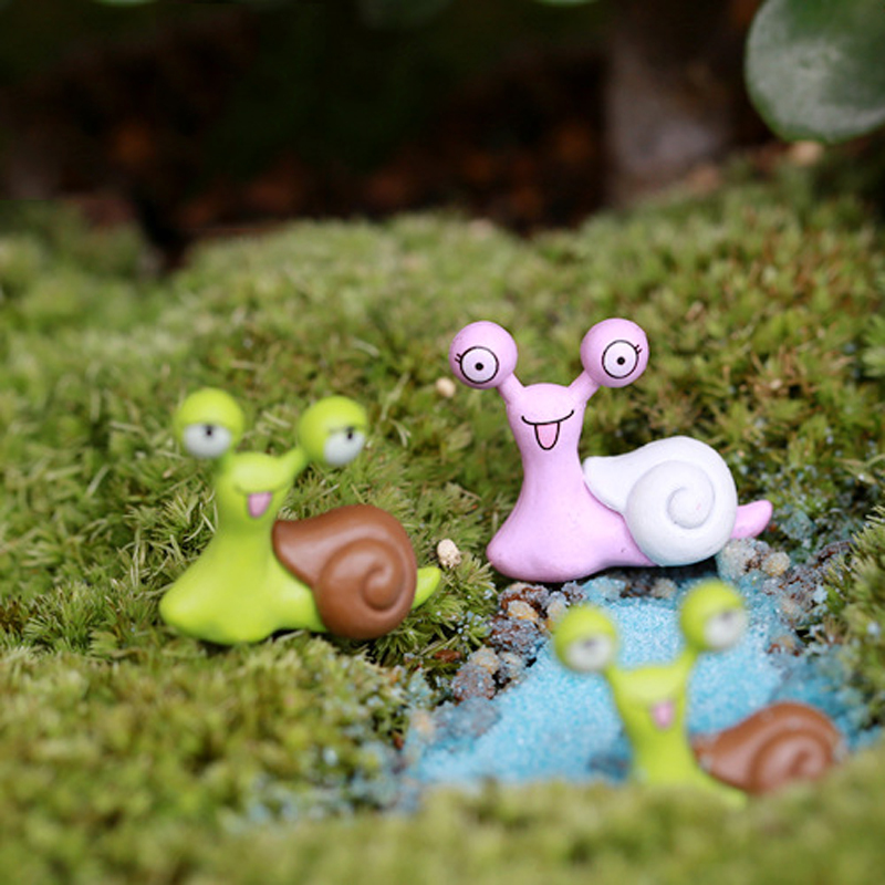 4pcs cartoon snails fairy garden miniatures figurines for Figurine decoration jardin