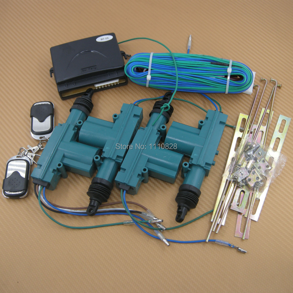 Free Shipping Remote control Two buttons central door locking Power Motor system Kit 4 door NEW(China (Mainland))