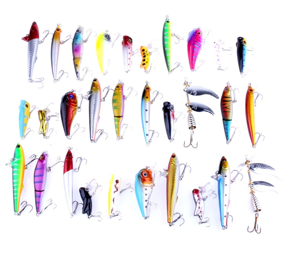 30 pieces lure kit pencil Multi-section fish Rock locusts sequins slice Minnow popper Integrated bait fish gear tackle carp lure(China (Mainland))