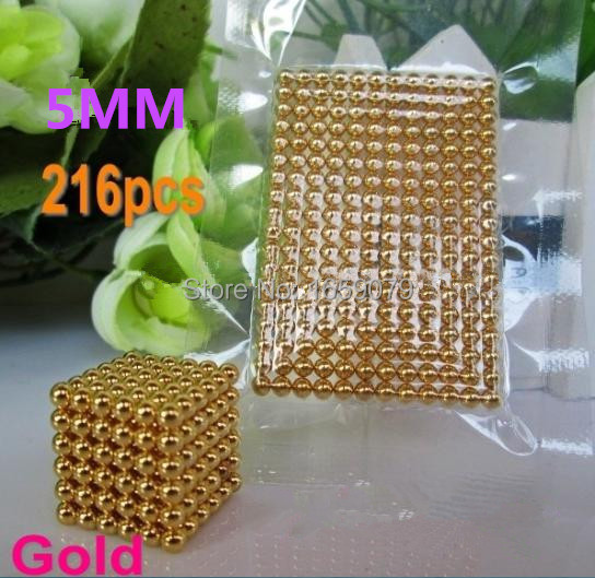 Free shipping 5mm 216 pcs Gloden Buckyballs Neo Cube Magic Cube Puzzle Magnetic Balls with metal box(China (Mainland))