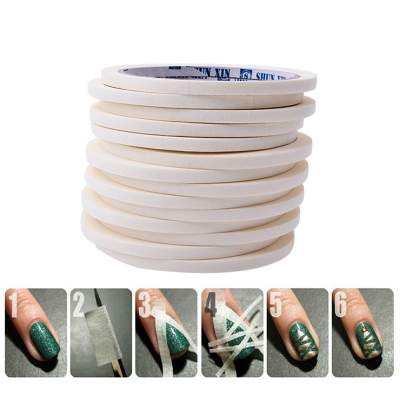 0.5cm*17m Manicure 3D Nail Art Tips Creative Nails Stripe Tape Rolls White Tape Stickers For Masking Pattern JH225<br><br>Aliexpress