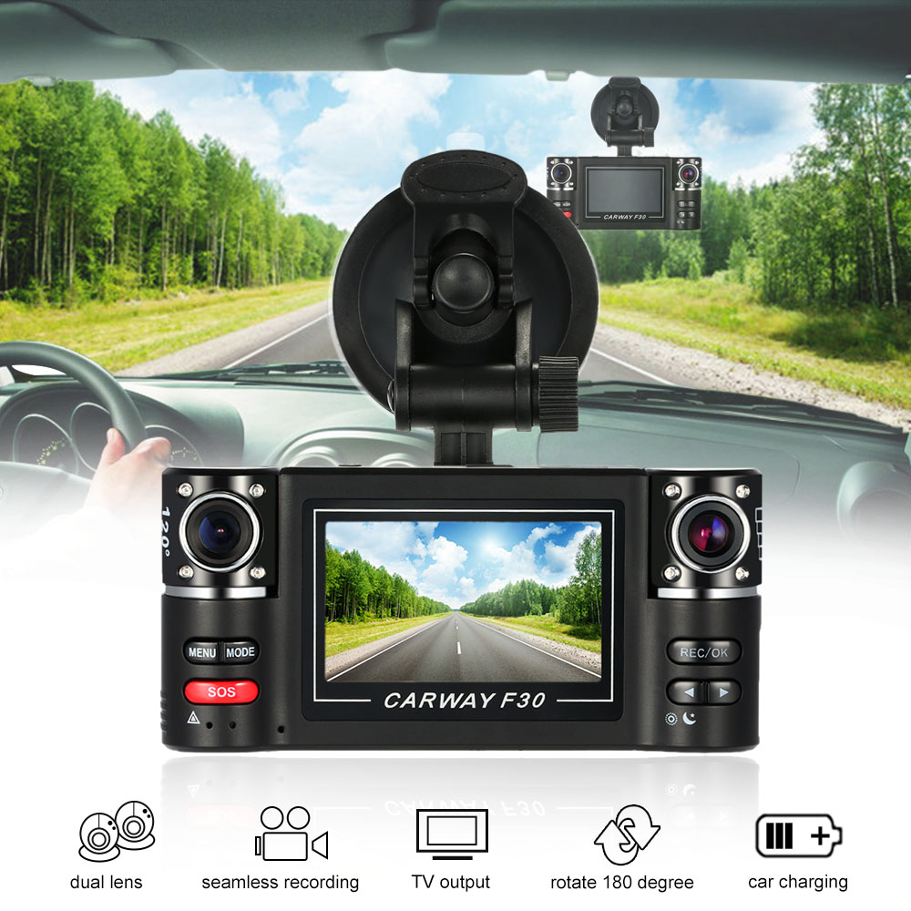 "Фотография New 2.7"" Dual Lens Car DVR Camera F30 HD Car Driving Recorder dashcam 170 Degree Registrator Recorder Night Vision Dash Cam"