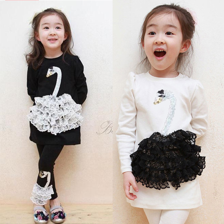 Free Shipping 2015 fashion spring swan lace baby girls clothes sets children clothing suit kids cotton t shirt + pants / legging(China (Mainland))