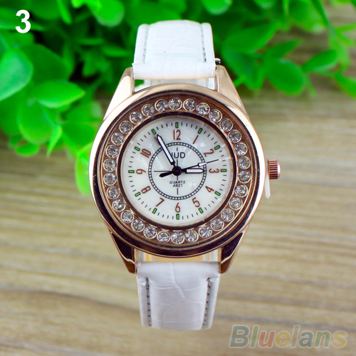 3 Colors Women Rhinestone Classic Round Dial Crystal Faux Leather Quartz WristWatch