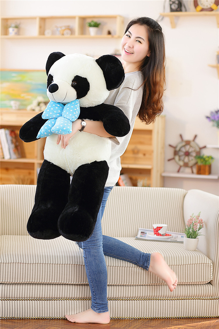 large 100cm bowtie panda plush toy pillow toy,birthday gift a1496(China (Mainland))